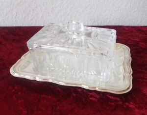 3 tlg. Glas Marmeladendose mit Deckel und Tablett, Dose 11 x 8 cm