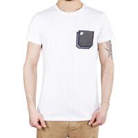 T-Shirt Uomo Maglia Mezza Manica Girocollo Casual Bianca Taschino Cotone SARANI