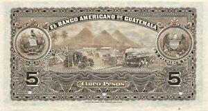 Guatemala  5  Pesos   ND. 1914  S 112  Series B  Specimen  Uncirculated Banknote