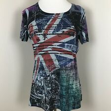 One World London Printed Novelty Top Size L Short Sleeve O26