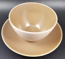 Poole Twintone Large Saucer & Sugar Bowl, Sepia & Mushroom Colourway c 1960's