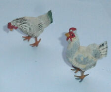 Lot of 2 Vintage Putz Christmas Miniature Rooster Chicken Metal Feet Italy