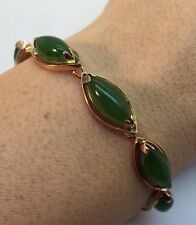 Estate 18k Yellow Gold Green Cabochon Jade Filigree Tennis Vintage Bracelet 7""