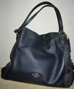 Coach 24966 Edie 31 Navy Leather Shoulder Bag with Patchwork Tea Rose
