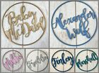 *ANY NAME & COLOUR* Personalised wooden name hoop wreath - Circle Loop Plaque