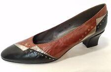 Margaret Jerrold Size 9 N Brown Black Silver Career Heels Pumps Vintage Narrow