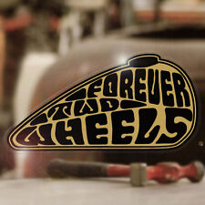 Forever Two Wheels Sticker Aufkleber Autocollante Bobber Chopper gold 120mm