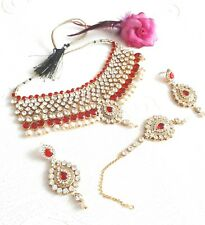 New Indian Costume Jewellery Necklace Choker  Red Pearl Design Wedding Wear