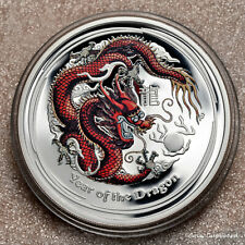 2012 - Australia -$1 - Red Dragon 1oz .999 silver proof coin with all OMP