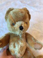 "Vtg Farnell Stuffed Teddy Bear 16"" Squeaker Mohair 5 Jointed UK 1950's-60's Tag"