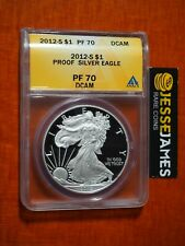 2012 S PROOF SILVER EAGLE ANACS PF70 DCAM GOLD LABEL