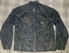 Harley Davidson Genuine Leather Mens Black Jacket Removable Sleeves Vest XL