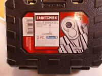 "New Craftsman 11pc 6pt 1/4"" Drive SAE (inch) Socket Wrench Set #34860 With Case"