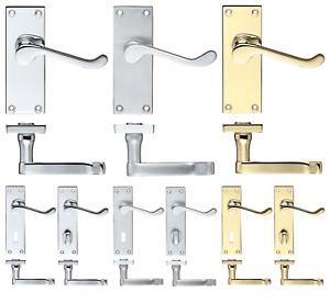 Victorian Scroll Internal Door Handles Latch Lock WC Chrome Satin Brass