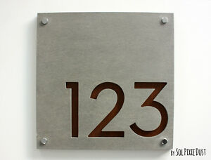 Modern House Numbers, Square Concrete with Marine Plywood - Sign Plaque