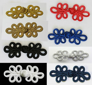 Frog Fasteners Button Knots  Colours:  Gold, Silver, Black, Red ,Navy , white #6