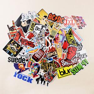 52 Rock Stickers Lot Heavy Metal Punk Band Music Guitar Car Decals Skateboard UK