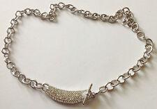 collier moderne chaine déco pendentif cristaux diamant couleur argent  /154