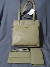 New Vintage Worthington Shoulder Bag~Clutch Wallet~Organizer Taupe Faux Leather