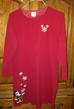 Disney Store Woman's Red Fleece Minnie Mouse LS Nightgown/Night Shirt-Size large