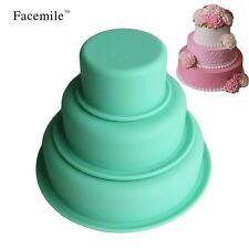 3Pcs Cake Mold Round Silicone Cupcake Baking Set Cake Decorating Pan