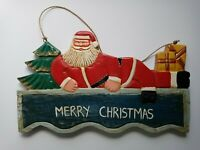 Carved Painted Wood Santa Claus Vintage Christmas sign Merry Christmas hanging