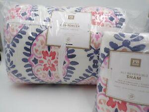 Pottery Barn Teen Ali Reversible Twin Comforter w/ 1 Standard Sham Multi #9846