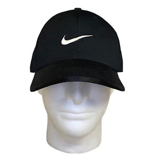 Nike Swoosh Logo Hat Fitted Black Jersey Mesh Material Size 7 1/2 Men's