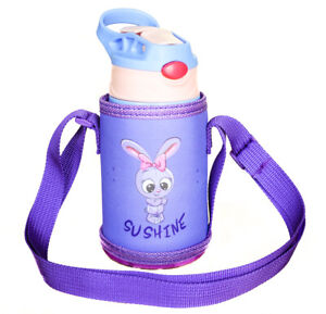 Cartoon Kids Vacuum Flask Purple Coffee Water Bottle Thermos Cup 350ML Gift
