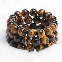 Men Woman Natural Tiger Eye Stone Lucky Bless Beads Bracelets 6/8/10/12 MM Sy