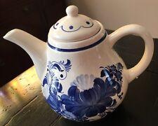 Vint Pottery Ceramics Teapot  Belter Fajans Hand Painted  In Poland w/Lid*