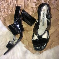 Via spiga faux snakeskin patent leather heels sandals t strap black 9 FLAW
