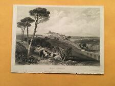 KJ) Original 1834 Mont Ferrier Montferrier Ariege Landscape Annual Engraving