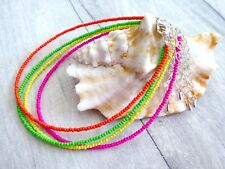 Handmade Neon Seed Bead Anklet Bracelet or Necklace Summer Surf Beach Foot Chain