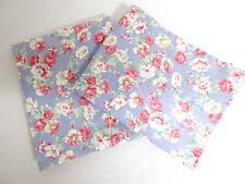 Pair Vintage RALPH LAUREN  COTTON Chambray Blue Pink Roses STANDARD Pillow Cases
