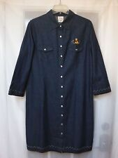Disney Store Embroidery Pooh Snap ButtonUp 3/4Sleeve Jean Dress Women L *Mint*