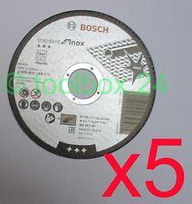 5 x Genuine Bosch FAST Metal Inox Thin Cutting Discs 115mm x 1mm x 22.2mm