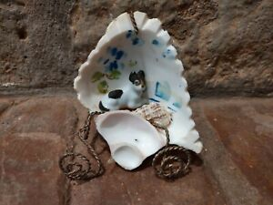 Antique Victorian Carved Shell Art with Dog & Stand - Sailor Souvenir Shellcraft