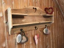 Küchenregal Landhaus alt braun Shabby chic Holz Regal mit Haken Wandregal antik