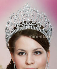 """Vintage Style Pageant Tall 4.5"""" Tiara Crown Circle Round Beauty Contest T1724"""