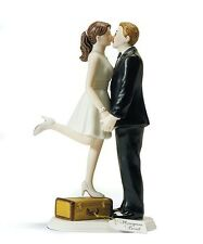 """""""A Kiss and We're Off!"""" Wedding Cake Topper CUSTOMIZATION AVAILABLE Reception"""