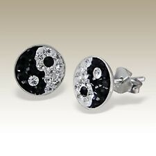 STERLING SILVER & CRYSTAL YIN YANG STUD EARRINGS - Black White Kitsch Boxed