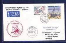 44605) Irland Ryanair FF Bratislava - Bremen 27.9.07, card