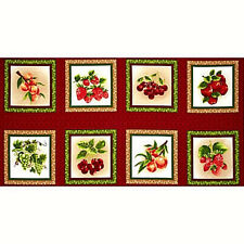 Fresh Harvest Fruit Panel  Cotton Fabric Fabri-Quilt     BFab