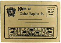 Vtg Night at Cedar Rapids, Iowa Postcard Booklet Coe College Post Office 3rd St.