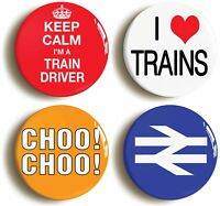 TOY TRAIN MODEL ENTHUSIAST BADGE BUTTON PIN SET (Size is 1inch/25mm diameter)