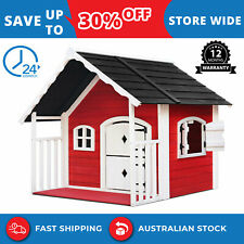 Kids Children Playhouse Timber Cubbyhouse Wooden Outdoor Furniture Xmas Toy Gift