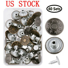 40Sets Metal Denim Jeans Tack Snap Buttons Rivets For Repair Replacement+ Box