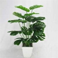Artificial Green Monstera Leaves 49cm 18Heads Fake Plants Home Decorations 1pc