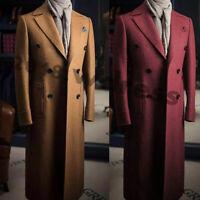 Men Wool Long Blazer Suits Double-breasted Peak Lapel Overcoat Outwear Jacket